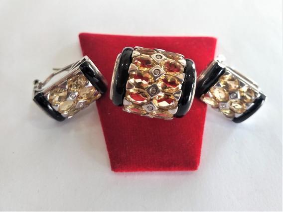 Conjunto De Brincos E Anel Citrino Diamante Onix