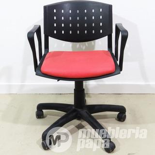 Sillon Oficina Giratoria Vl-t09 Negro Asiento Rojo Millenium