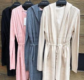 Kimono Cardigã Feminina De Lã C Toca Bolsa Inverno Importado