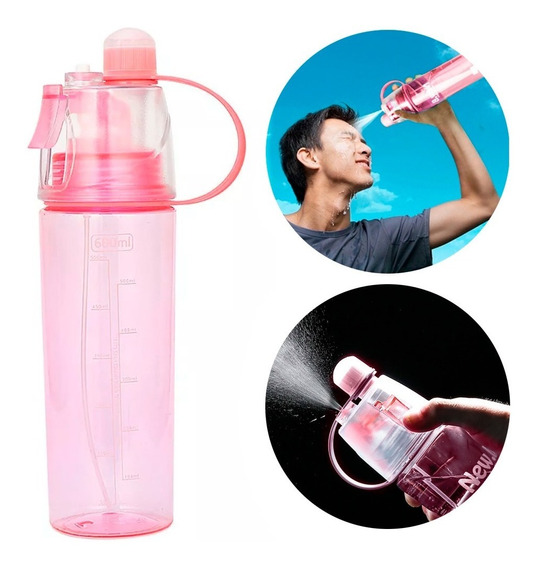 Botella De Agua Con Spray Atomizador 600ml Rosa D1184