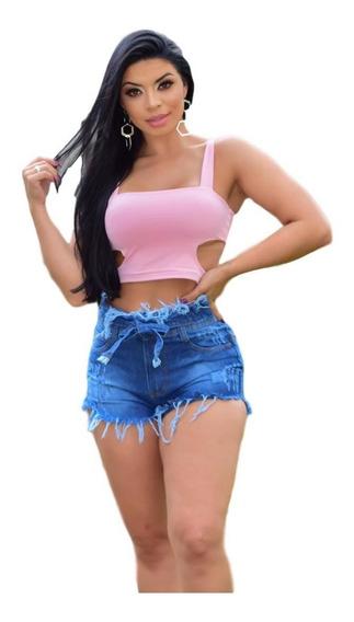 Kit 3 Shorts Jeans Feminino Atacado Cintura Alta Sortidos C4
