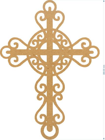 Cruz Elegante 30 Cms Mdf Bautismo Confirmación Primera Comun