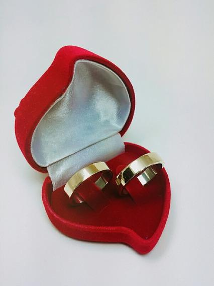 Aliança Casamento Quadrada Lisa - Banhada A Ouro 18k Barata