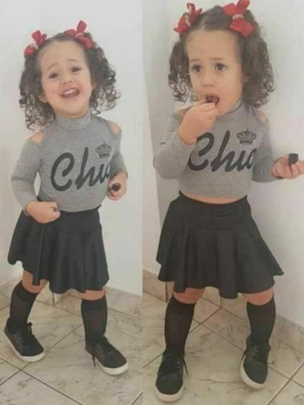Roupa Feminina Saía Peplum Infantil Menina