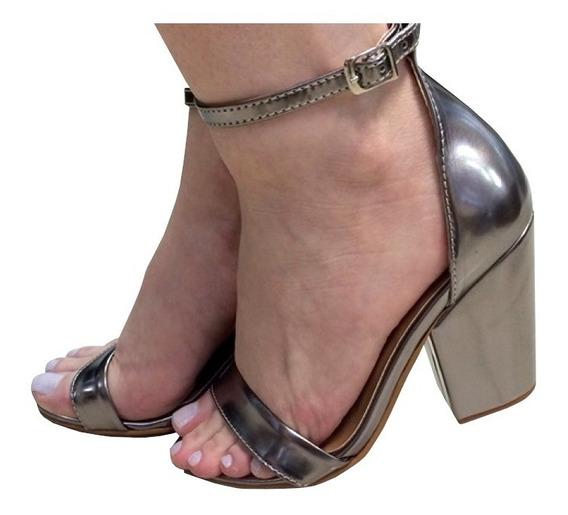 Sandália Metalizada Salto Médio Alto Grosso Prateada Com Nf