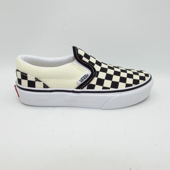 Tenis Vans Classic Slip On Checkerboard Vn000zbueo1 Black Wh