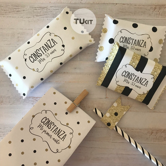Kit Imprimible Glitter Dorado Blanco Negro Candy Bar Tukit