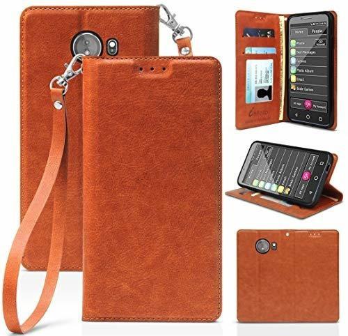 Caja De Jitterbug Smart2, Brown Folio Cuero Monedero Tarje