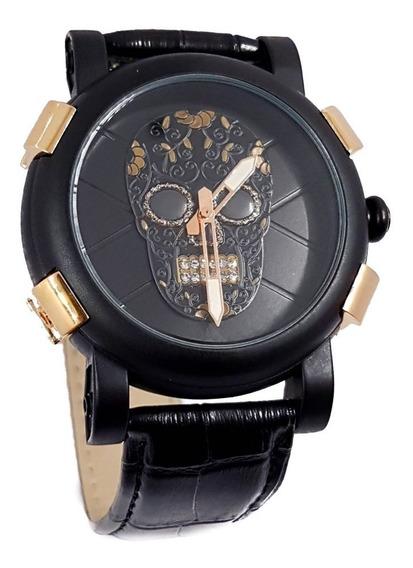 Reloj Caballero Calavera Catrin Cristales Oro Rosa