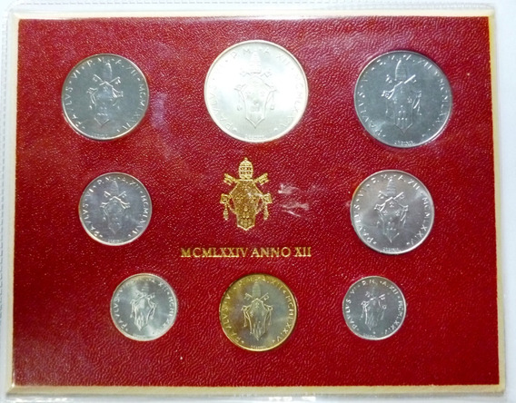 Vaticano Set De 8 Monedas En Blister 1974 Unc Sin Circular