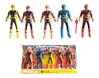 Power Rangers Figuras X5 Juguete Niños Juguetería Acartonado
