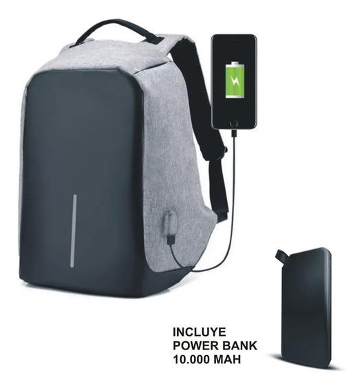 Mochila Notebook Antirrobo Impermeable Powerbank 10000 Mah
