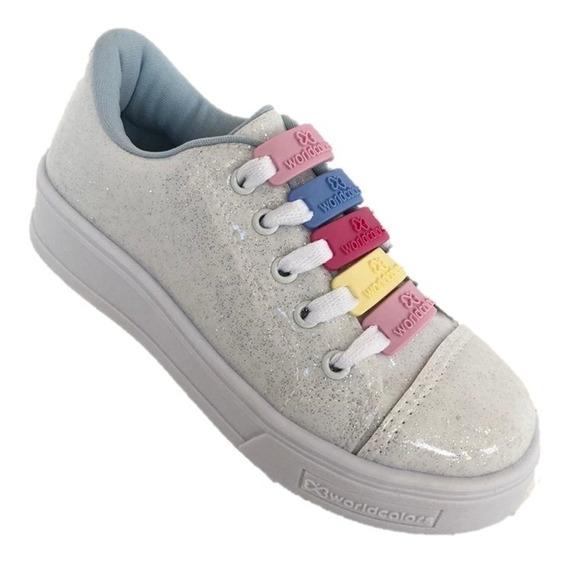 Tênis Feminino Branco Glitter Infantil - Worldcolors