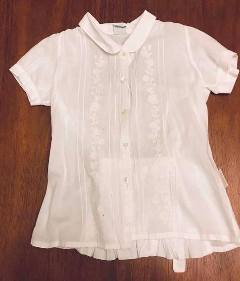 Blusa / Camisa De Nena Talle 6 Blanca