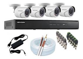Kit Cftv Hikvision 4 Cam E Dvr Full Hd 1080p 8 Canais S/ Hd