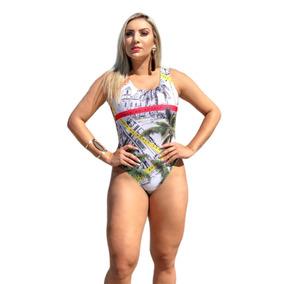 Body Maiô Feminino Fio Cavado Estampado Costas Aberta Bgs 3a