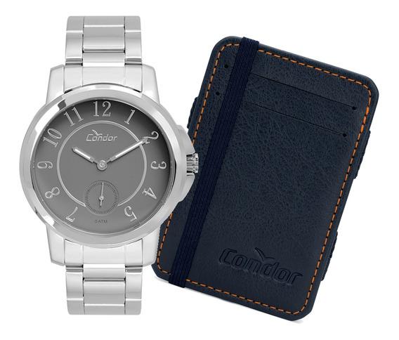 Relógio Condor Masculino Prata Com Carteira - Co6p28ab/k1c