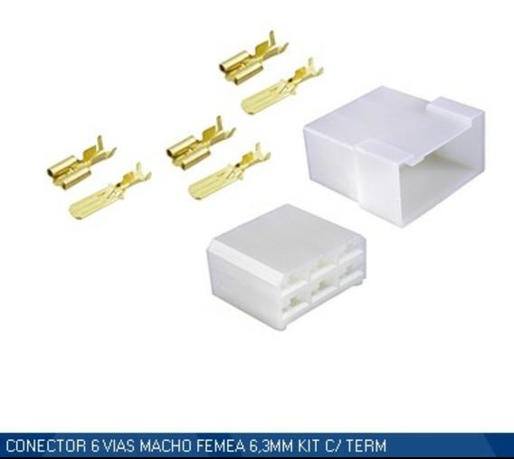 Kit 6 Conectores 6 Vias Macho E Femea Ete-7506 Kit