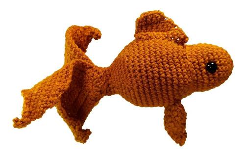 Imagen 1 de 4 de Peluche Pez Dorado De Colores Crochet Amigurumi Unidad