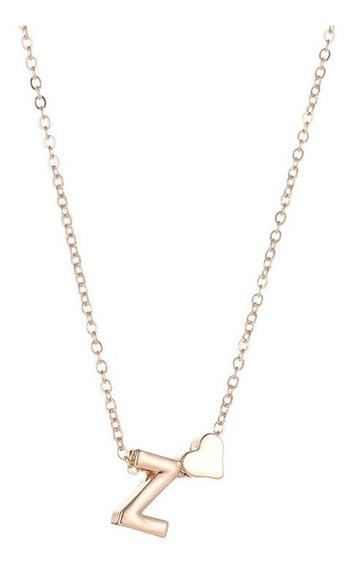 Collar Dije De Letra+ Corazón- Collar Con Inicial- Alfabeto