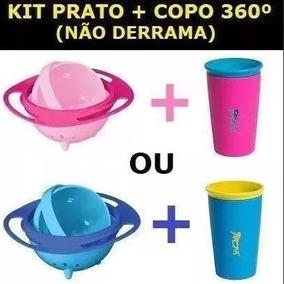 Kit Prato Copo Mágico 360 Graus Não Cai Comida Giratório