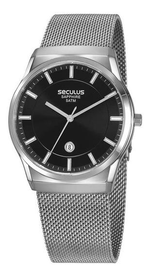 Relógio Masculino Seculus Prata 23658g0svna1 Vidro Safira