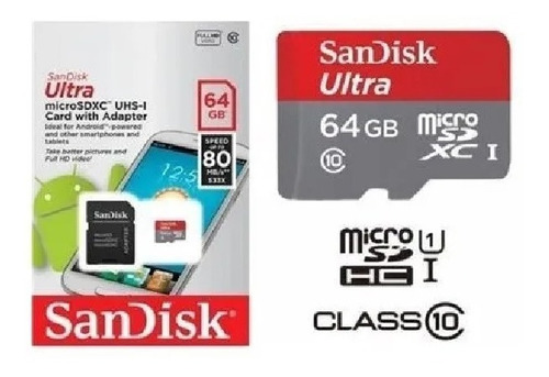 Memoria Micro Sd Sandisk 64 Gb Clase 10 De 80mb/s Original