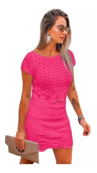 Conjunto Feminino Blusa E Saia Trico Curta Moda. Ref: 603