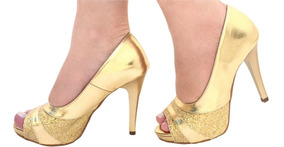 Peep Toe Glitter Ouro Dourado Espelhado Salto Alto Fino