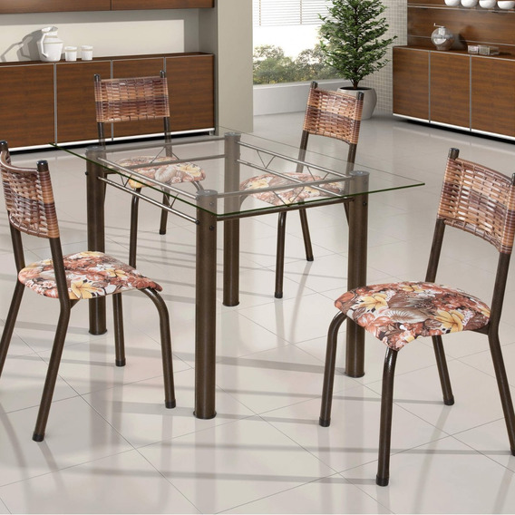 Conjunto De Mesa Retangular Tampo De Vidro 4 Cadeiras Dd