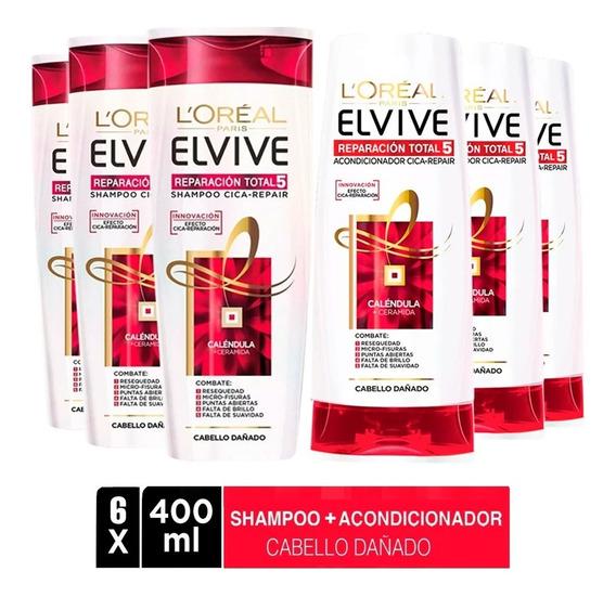 Pack 3 Shampoo + 3 Aco Elvive Reparacion Total L