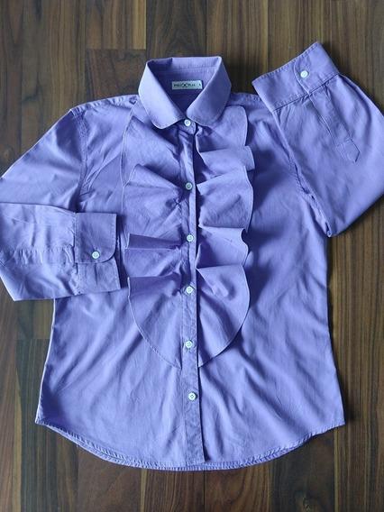 Camisa Social Feminina Polo Play Violeta Original Oferta
