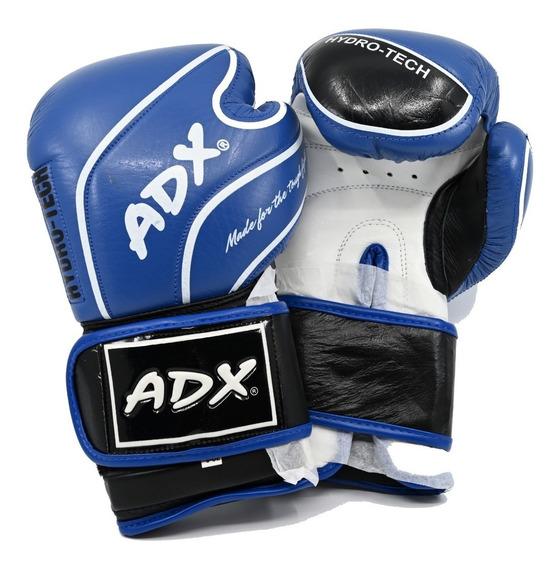 Kit Adx Par De Guantes Box Entrenamiento En Piel Color Azul Con Protección En Muñeca + Desodorizante