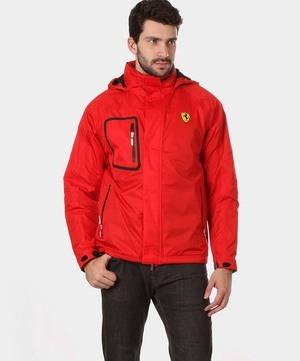 Jaqueta Da Ferrari Com Capuz - Vermelha Tamanho M