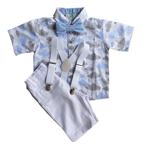 Roupa Festa Aniversario Infantil Camisa Social Manga Curta Menino Com Bermuda Social Com Suspensório Gravata Borboleta