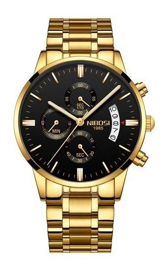 Relógio Masculino Nibosi 2309-1-2 Original Dourado 30 Metros