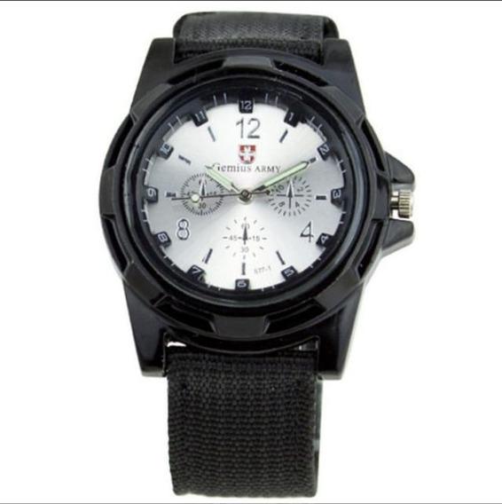 Relógio De Pulso Militar Quartzo Prata Pulseira De Tecido