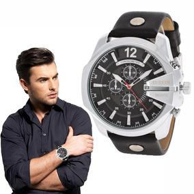 Relógio Masculino Pulseira De Couro Curren Dial Grande