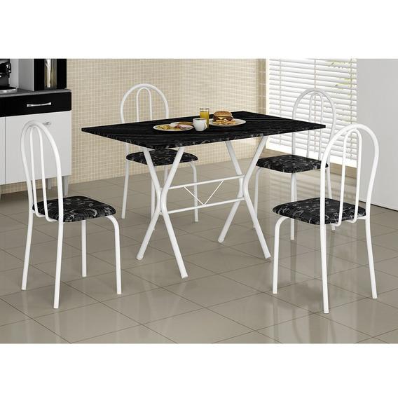 Mesa Para Cozinha Em Mdf 1x60 Com 4 Cadeiras Ane B Só Rj