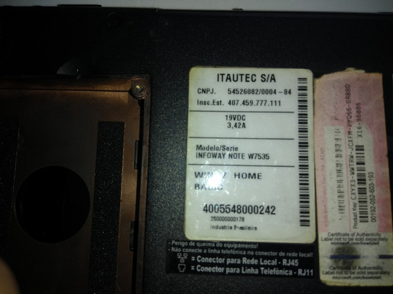 Carcaça Notebook Itautec W7535