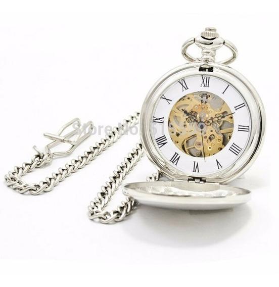 Reloj De Bolsillo Tipo Vintage Plateado Mecanico De Cuerda 9
