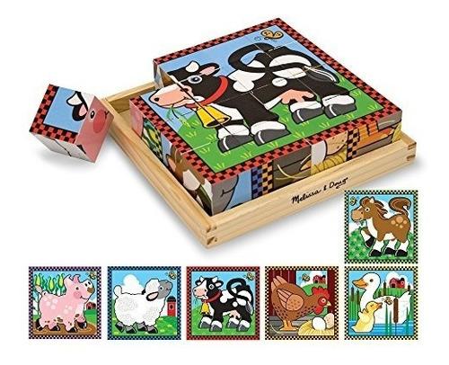 Melissa - Doug Farm Puzzle De Cubo De Madera Con Bandeja De