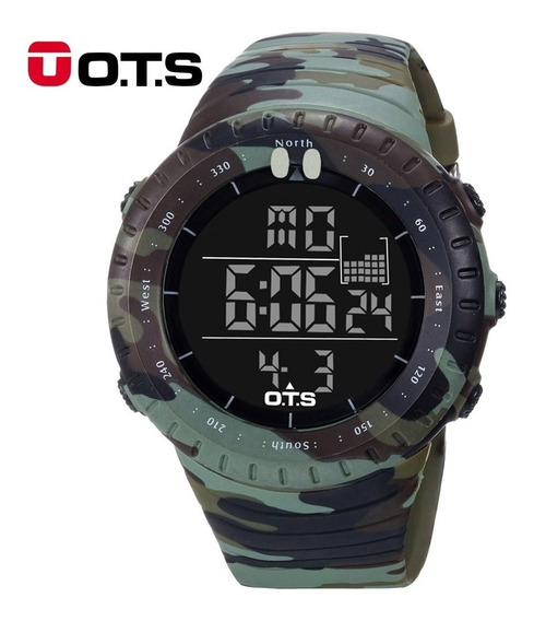 Relógio Ots Digital Esportivo Militar Shock Camuflado Brinde