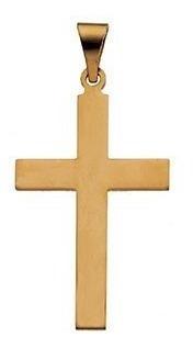Cruz Lisa Amarilla En Oro De 14k (12777)
