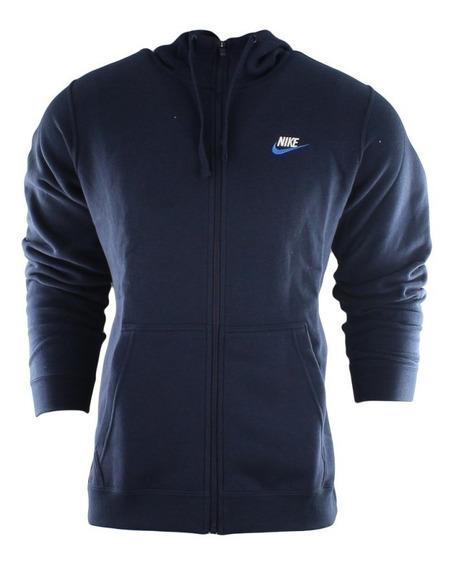 Agasalho Moletom Nike Club Hoodie Azul C/capus - 804389-454