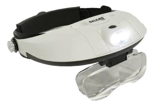 Lupa Vincha Binocular Doble Luz Led 5 Lentes Galileo