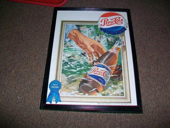 Pepsi-cola, Propaganda Enmarcada Bajo Vidrio, 34 Ctms.