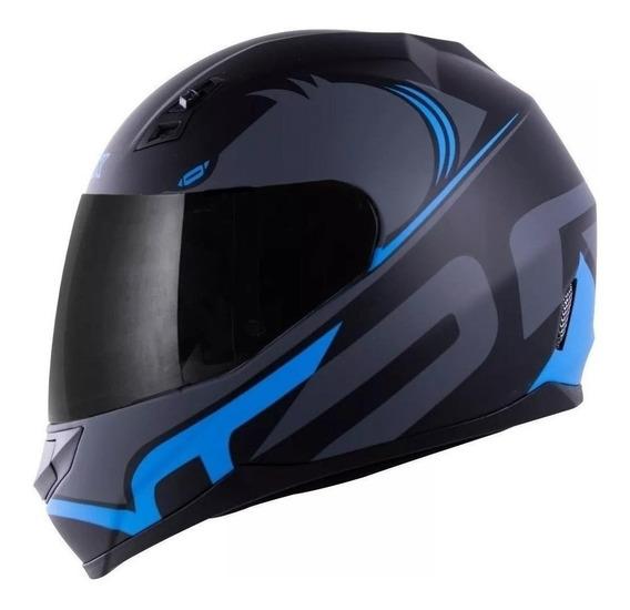 Capacete para moto integral Norisk FF391 Squalo matt black/blue tamanho 56