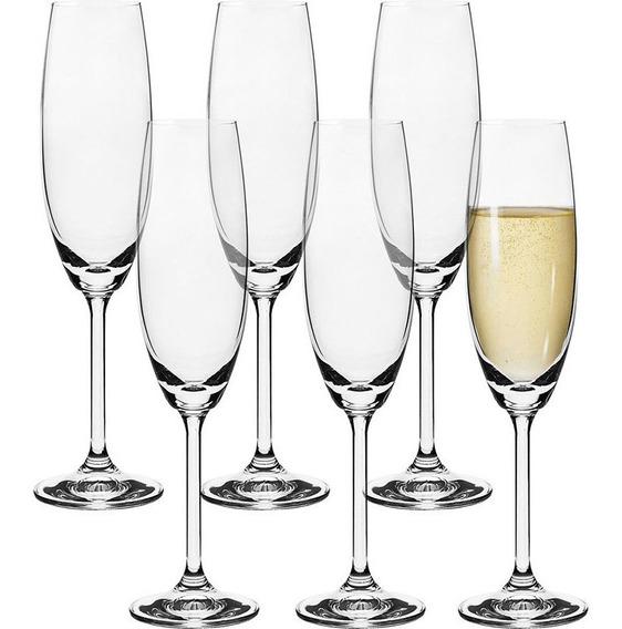 Jogo 6 Taças Champagne Cristal Gastro 220ml Bohemia
