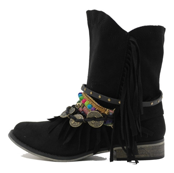 Botas Botinetas Texana Mujer Cuero Pu Negro Leblu Z120